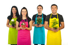Four gardeners workers offering flowers. Team of four gardeners workers in colorful aprons offering flowers pots isolated on white background Stock Images