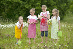 Four gardening children with aprons Stock Photography