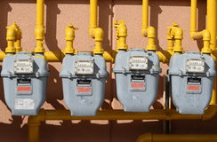 Four Gas Meters Royalty Free Stock Photos