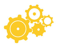 Four Gears. Vector illustration of four orange gears Stock Photography