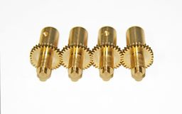 Four golden gears. Four gears of gold color on a white background Royalty Free Stock Photo