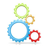 Four Gears. Four Plastic Colorful Gears Engaged 3D Illustration  on White Background Royalty Free Stock Photography