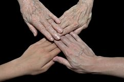 Four generation family hands. Four hands representing generations in a family Stock Image
