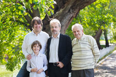 Four generations of men standing in a park. On sunny day Stock Photos