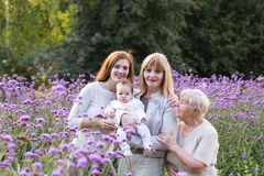 Four generations of women in a beautiful lavender field. On summer day Royalty Free Stock Image