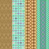 Four geometric patterns. Various geometric patterns in assorted colors stock illustration