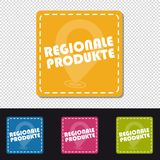 Four German Colorful Square Buttons Regional Products - Vector Illustration - Isolated On Transparent Background vector illustration