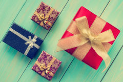 Four gift boxes Royalty Free Stock Images
