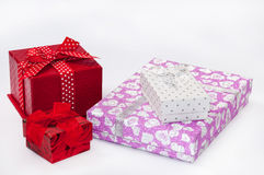 Four gift boxes with bows Stock Photography