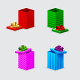 Four gift boxes and covers Royalty Free Stock Photo