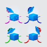 Four gift boxes and flying cap Royalty Free Stock Image