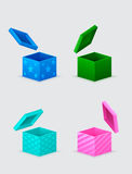 Four gift boxes and flying cover Royalty Free Stock Images