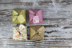 Four gift boxes, made of paper Stock Photo