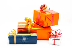 Four gift boxes. White background royalty free stock photos
