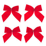 Four gift red ribbon and bow Stock Photos
