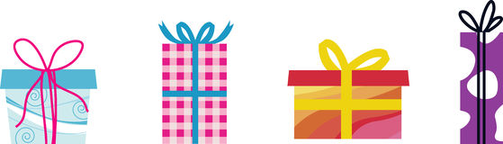 Four giftboxes with ribbon. Royalty Free Stock Photos