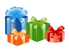 Four giftboxes with ribbon. Royalty Free Stock Photo