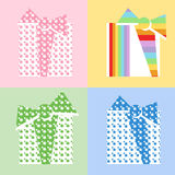 Four Gifts. Wrapped with colored paper Stock Images
