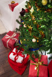 Four gifts with christmas tree Royalty Free Stock Photo