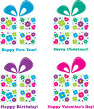 Four gifts - four holidays, vector illustration Stock Photos