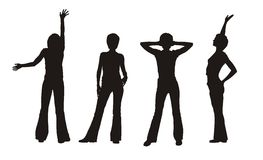 Four girl's silhouettes Royalty Free Stock Image