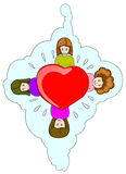 Four girl holding love icon. Illustration for valentine, four girl holding love icon on cloud Royalty Free Stock Photos