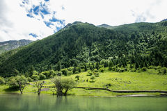 Four girl mountain build gully scenery in Sichuan, China Royalty Free Stock Photos