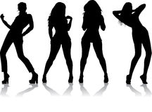 FOUR GIRL SILHOUETTE. Silhouettes of four models on the catwalk Royalty Free Stock Photos