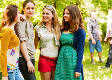Four girlfriends outdoor portrait Royalty Free Stock Photo