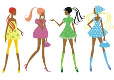 Four girls royalty free illustration