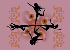 Four girls. Vector Illustration of four girls making yoga, sport and dancing balet  with stylized hibiscus and others floral elements Stock Photo
