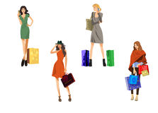 Four girls with bags. Vector illustration of a four girls with bags Stock Photo