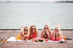 Four girls best friends enjoying summer Royalty Free Stock Image