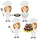 Four girls cook on white Royalty Free Stock Images