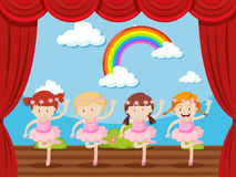 Four girls dancing on stage. Illustration Stock Image