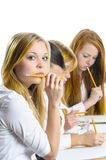 Four Girls an exam Stock Photo