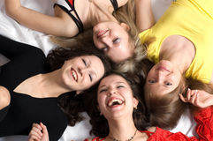 Four girls friends have fun. Close- up. Four girls friends have fun Stock Photo