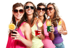 Four girls fun with a drink Stock Photography