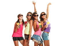 Four girls fun with a drink Royalty Free Stock Photography