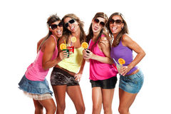 Four girls fun with a drink Stock Photos