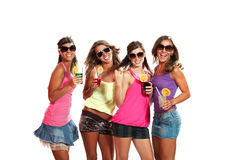Four girls fun with a drink Stock Image