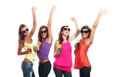 Four girls fun with a drink Stock Photo