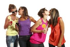 Four girls have fun Royalty Free Stock Photo