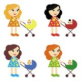 Four girls with perambulators Royalty Free Stock Photography