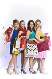 Four girls with shopping happy Stock Image