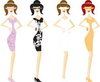 Four Girls in Short Dresses Vector Royalty Free Stock Images