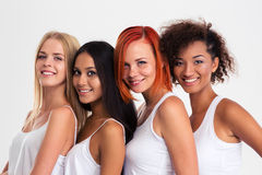 Four girls standing in a row Royalty Free Stock Photography
