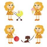 Four girls on walk Royalty Free Stock Image