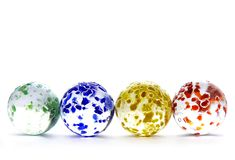 Four glass balls. Colorful glass balls on white vector illustration