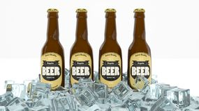 Four glass bottles of beer Royalty Free Stock Photos